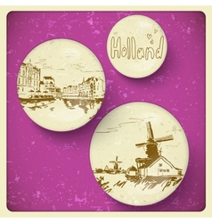 Holland hand drawn landscape in vintage style vector image