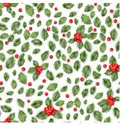 holly berry seamless pattern eps 10 vector image
