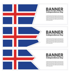 Iceland flag banners collection independence day vector