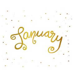 January handwriting lettering gold color vector
