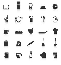 Kitchen icons with reflect on white background vector image