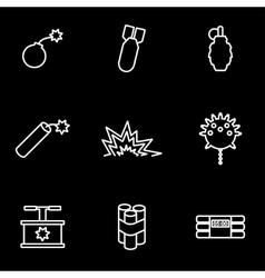 line bomb icon set vector image