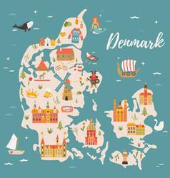 map kingdom denmark vector image