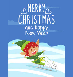 merry christmas and happy new year card with elf vector image