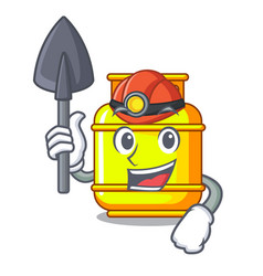 Miner creative in gas cartoon tank container vector