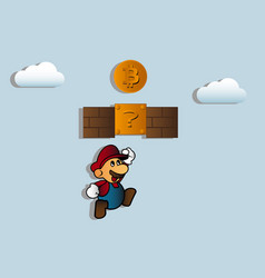 miner extracts a bitcoin coin vector image