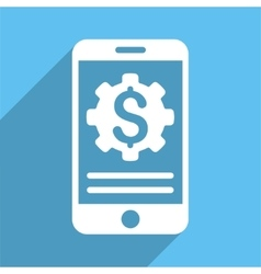 Mobile Bank Options Long Shadow Square Icon vector image