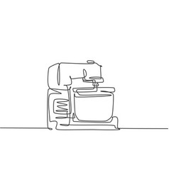One single line drawing electric hand mixer vector