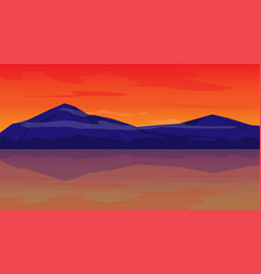 orange sky in evening with mountain landscape vector image