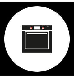 Oven simple isolated black and red icon eps10 vector