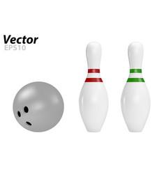 Pins and bowling ball vector