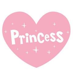 princess pink heart shaped lettering design vector image