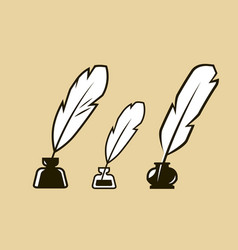 quill pen in inkpot symbol education journalism vector image