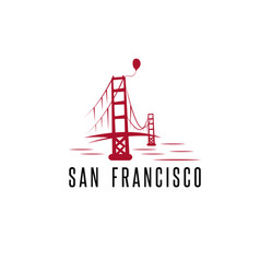 san francisco golden gate bridge and balloon vector image