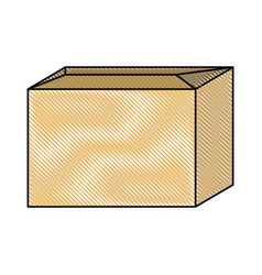 Sealed cardboard box icon in colored crayon vector