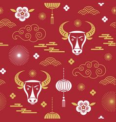 Seamless pattern chinese happy new year vector