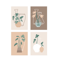 set 4 creative minimalistic posters for home vector image