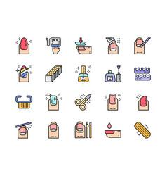 Set nail salon color line icons scissors vector