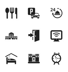 Set of 9 editable motel icons includes symbols vector