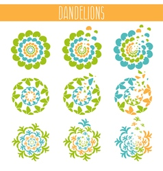 Set of abstract cute dandelions template vector image