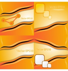 Set of orange and yellow abstract art water colour vector image