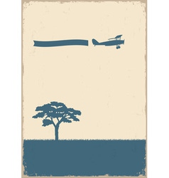 Silhouette of tree and old plane vector image vector image