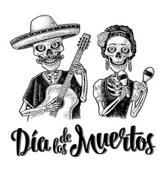 Skeletons with maracas and guitar dressed vector