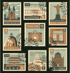 stamps with different landmarks vector image
