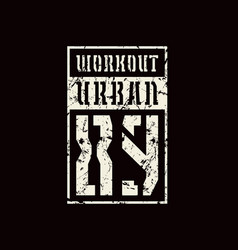 Stencil-plate emblem of workout vector