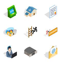Storekeeper icons set isometric style vector