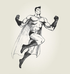 Superhero in flying pose vector