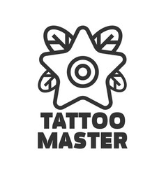 Tattoo master studio salon star flower icon vector
