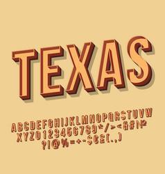 texas vintage 3d lettering vector image