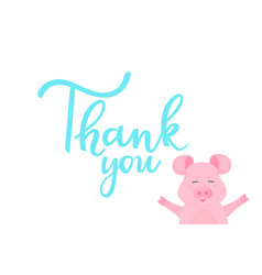 thank you card with hand drawn lettering and vector image