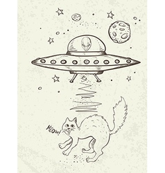 UFO abducts a cat vector