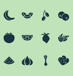 vegetable icons set with kidney beans banana vector image