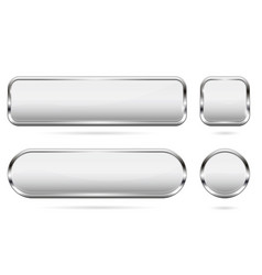 white glass buttons set 3d shiny icons with vector image