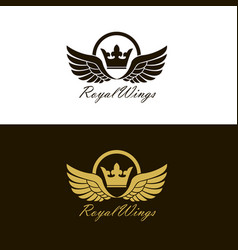 Winged crown set vector