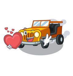 With heart jeep car toys in shape character vector