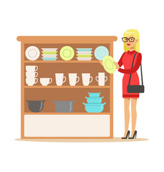 Woman choosing tableware smiling shopper in vector