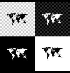 world map icon isolated on black white and vector image