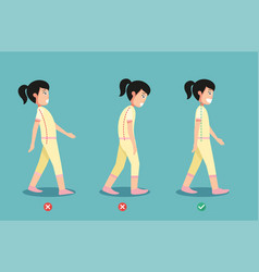 Wrong and correct walking posture vector
