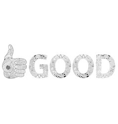 Zentangle stylized hand thumbs up line color icon vector