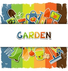 Background with garden sticker design elements and vector image vector image