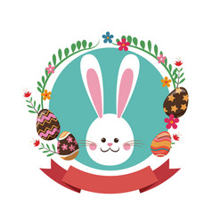 easter bunny flowers ribbon label vector image