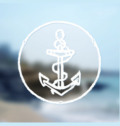 ink hand drawn anchor on blurred sea background vector image vector image