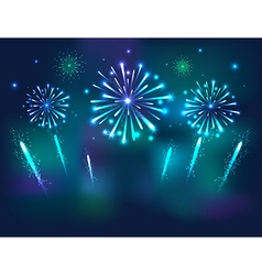 Set of Festive Fireworks on the blue Background vector image