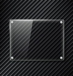 Glass signboard on the surface of carbon fiber vector