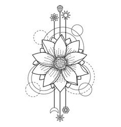 lotus modern tattoo vector image vector image
