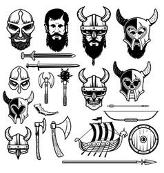set of vikings icons vikings weapon ship helmets vector image
